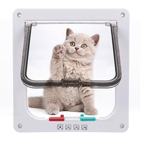 Homdox Katzenklappe Hundeklappe 4 Wege Magnet-Verschluss für Katzen und kleinere Hunde 19*20*2.1cm, S weiß