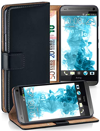moex HTC One Mini | Hülle Schwarz mit Karten-Fach 360° Book Klapp-Hülle Handytasche Kunst-Leder Handyhülle für HTC One Mini M4 Case Flip Cover Schutzhülle Tasche