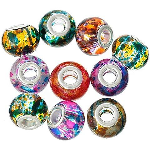 SEXY SPARKLES da donna, colori assortiti, 10 pezzi, perline in vetro a lume, compatibile con braccialetti con catena a