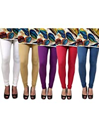 Anekaant Pack Of 5 Cotton Lycra Free Size Women's Legging -White, Beige, Purple, Maroon, Grey