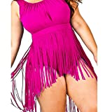 Ginli Bikini Costume da Bagno,Costume da Bagno da Donna con Imbottitura Push-up Imbottita Costume da Bagno con Nappine a Vita Alta da Donna di Grandi Dimensioni