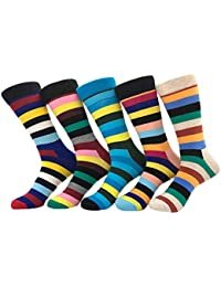 4 Pares/5pares Hombre Casuales Stripe Algodón Rico Cómodo Transpirable Diseño Elegante Calcetines de Colores