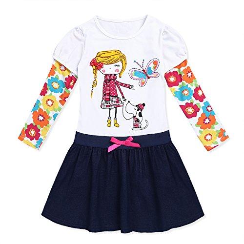 Tiaobug Mädchen Kinder Langarm Kleid Baumwolle Regenbogen Cartoon Blumen Kleid 98 104 110 116 122 128 (128-134/7-8 Jahre, Weiss)