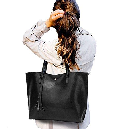 PB-SOAR Damen Mädchen Elegant Shopper Schultertasche Ledertasche Schulterbeutel Henkeltasche Handtasche Einkaufstasche aus Kunstleder (Schwarz) Schwarz
