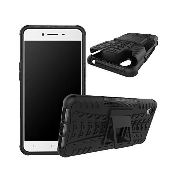 Kaira Hard Armor Hybrid Rubber Bumper Flip Stand Rugged Back Case Cover for  Oppo A37 (Black)