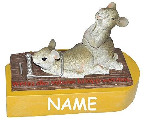 Unbekannt  Wenn die Mäuse knapp werden  - Spardose Mausefalle - mit Name - stabile Sparbüchse aus Kunstharz - Mäusefalle Mäuse Geld Sparschwein Kohle Käse (Lustige Geld-scheine)