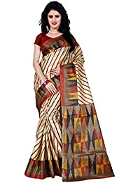 Trendz Style Taffeta Silk Stripe & Geometric Print Saree