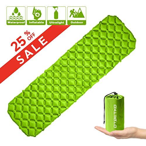 DTOETKD Aufblasbare Isomatte Ultraleicht, Kompakt Kleines Packmaß Camping Isomatte Bequem Luftmatratze - Outdoor Schlafmatte für Camping Wandern Backpacking Reisen Strand (A Farbe - Grün)