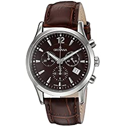 GROVANA 1209.9536 Men's Quartz Swiss Watch with Brown Dial Chronograph Display and Brown Leather Strap