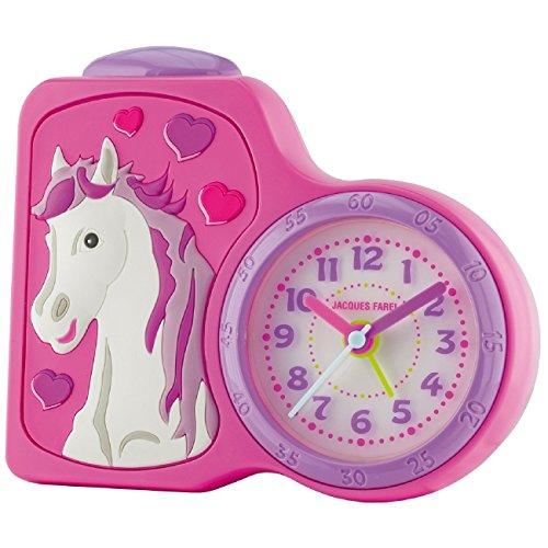 JACQUES FAREL Kinderwecker Mädchen Pferd rosa/pink ohne Ticken, mit Licht und Snooze ACB 717 HS