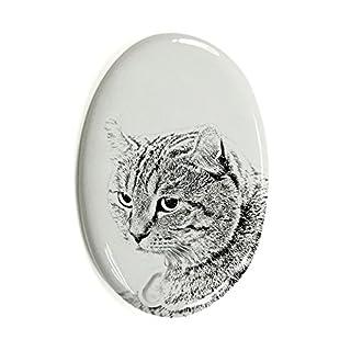 ArtDog Ltd. Hochland -Luchs, Oval Grabstein aus Keramikfliesen mit Einem Bild Einer Katze