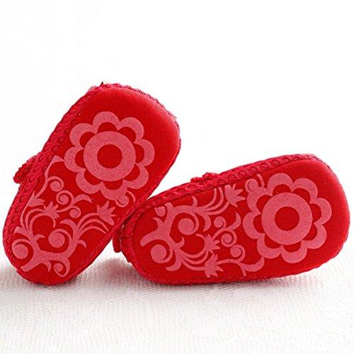 Ouneed® Krabbelschuhe , Baby Säuglings kind Mädchen weiche alleinige Krippe Kleinkind neugeborene Schuhe Rot