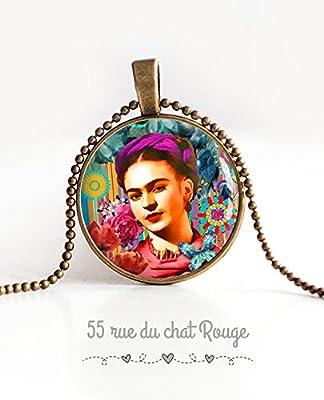 Collier pendentif cabochon verre Frida Kahlo, Mexique, Bohême chic, gypsy, multicouleur