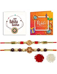 YouBella 2 Rakhi and 2 Greeting Card Combo for Brother (Multi-Colour) (YBRK_95)