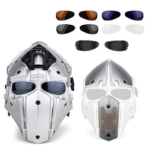 DYM258 Airsoft-Maske Full-Covered Paintball-Pistole mit Maskenbrille für Tactical Outdoor Filmrequisiten Militär Motorradhelme,White