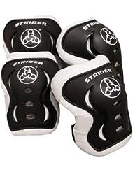 Strider - Juego de rodilleras/coderas (talla pequeña/mediana), color blanco y negro