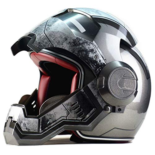 wthfwm Uomo Ferro Casco Uomo Marvel The Avengers Anti-collisione Casco Autostrada Professionale Adulto Macchina da Guerra off Road Safety cap,Grey-XXL