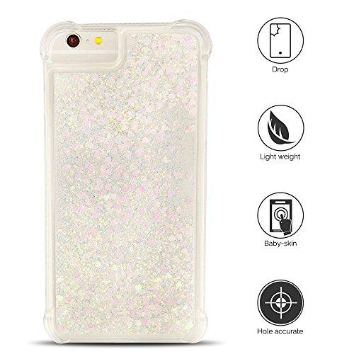 Cover iPhone 6 plus Custodia iPhone 6s plus Silicone Liquido Anfire Trasparente Flessibile Plastica TPU Case per Apple iPhone 6 plus/6s plus (4.7 Pollici) Sabbie Mobili Shell 3D Bling Glitter Floating Luca Rosa