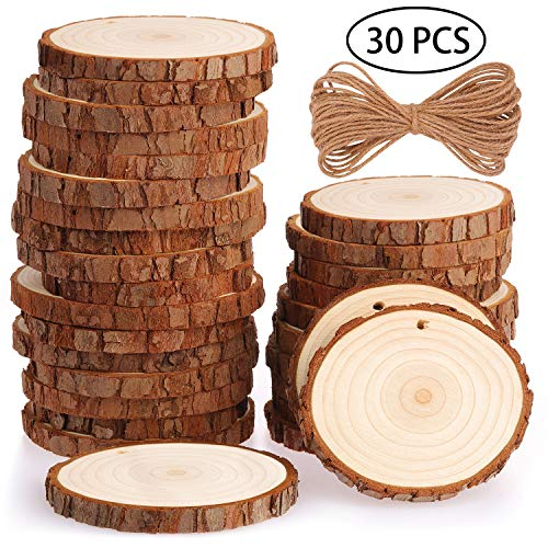 Rodajas de Madera Círculos 7-8 cm 30 pcs Fuyit Discos de Madera Rebanada 10m Cuerda de Cáñamo Maderas Naturales Perforado Con Corteza de Árbol Para Manualidades