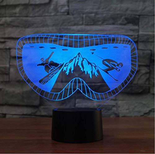 YZWD Illusion Nachtlicht Illusion Lamp 3D Fernbedienung Nachttischlampe 7 Farben Ändern Die Ski-Schutzbrillen, Die 7 Farben Ändern, Die Snowboarding-Schreibtisch-Lampe Ändern, Führten 3D (Männer-ski-schutzbrillen)