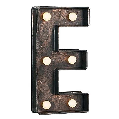 Decorative Vintage Style Brushed Bronze Effect Battery Operated LED Light - Letter E