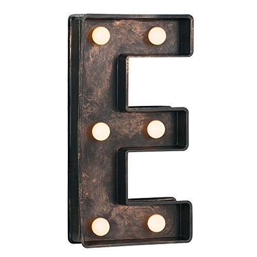 MiniSun – Dekorative und batteriebetriebene LED-Leuchte in Gestalt von der Buchstabe 'E' mit einem schönen schwarzen und gebürsteten bronzefarbigen Finish – im Vintagestil