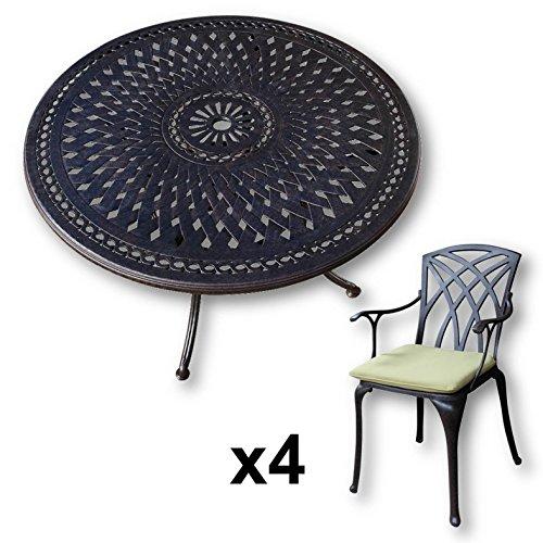 Lazy Susan - Table ronde 120 cm ALICE et 4 chaises de jardin - Salon de jardin en aluminium moulé, coloris Bronze ancien (chaises APRIL, coussins verts)