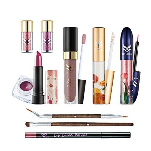 Sharplace 10pcs Kit de Maquillage des Femmes Rouge à Lèvres Lip Gloss Pigment Ombre à Paupières Pailllette Crème Correcteur Surligneur Set Brosse Cosmétique