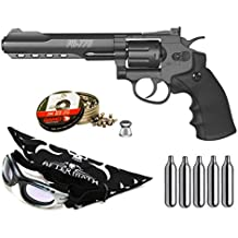 Outletdelocio. Pack Revolver Perdigón Gamo PR-776 Calibre 4,5mm. Potencia 3 Julios + gafas antivaho + pañuelo cabeza decorado, + balines + bombonas co2