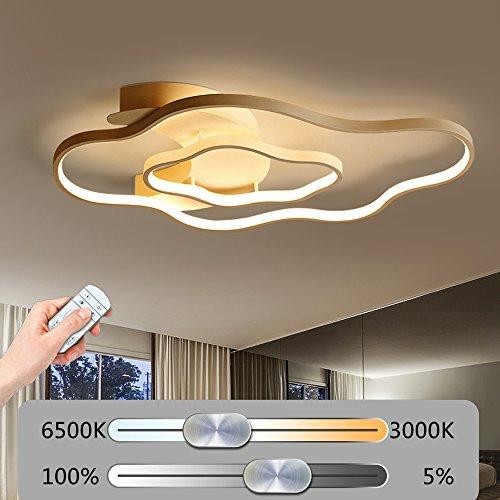 Modern LED Wolke Form Deckenleuchte Stufenlos Dimmbar Deckenlampe mit Fernbedienung 2 Ringe Kreative Deckenbeleuchtung Weiß Acrylschirm Design Minimalistischen Wohnzimmerleuchte Schlafzimmerleuchte Dekoration (63W-81CM*48CM)