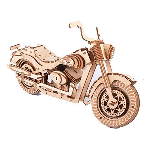 Batop 3D Puzzle Holzpuzzle, 158Pcs Harley Motorrad Lasergeschnittenes Holzpuzzle Montage Konstruktor Kit - Kreatives Geschenk für Erwachsene Kinder
