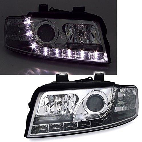 Scheinwerfer Set mit LED Tagfahrlicht Optik in Chrom