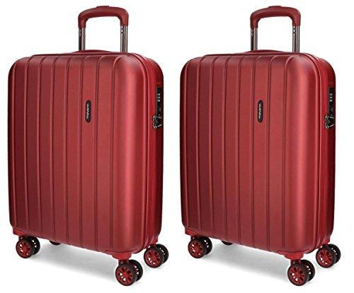 Juego de maletas de cabina Movom Wood rígidas 55cm Roja