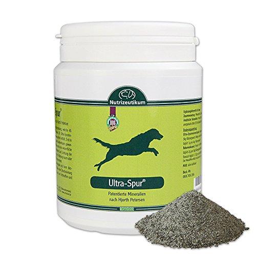 Ultra Spur für die optimalen Gelenk- und Skelettentwicklung der Hunde das Gelenkpulver enthält 45 Mineralstoffe und Spurenelemente auch bei Hüftgelenkdysplasie