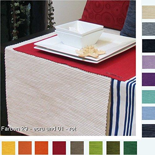 sander Tischläufer BREEZE Baumwolle Rips Melange Größe und Farbe wählbar (50x140cm , 29 - ecru)