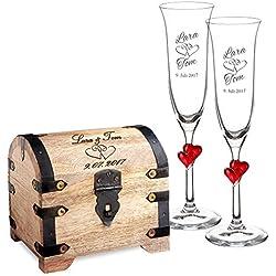 Cofre de madera y 2 copas de champagne – Personalizadas con nombre y fecha – Grabado de Corazones