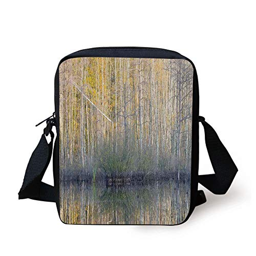 WITHY Lake House Decor,Authentic View of Forest with Thin Tall Trees by the Lake Fall Scenery Nature Print,Brown Yellow Print Kids Crossbody Messenger Bag Purse -