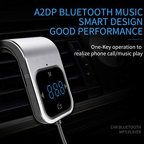 JIBO FM Transmitter Anti-Rutsch-Wireless Bluetooth Car Kit Car Audio MP3-Player FM-Modulator Mit Dual USB Car Charger,Silver 665 Wireless Bluetooth