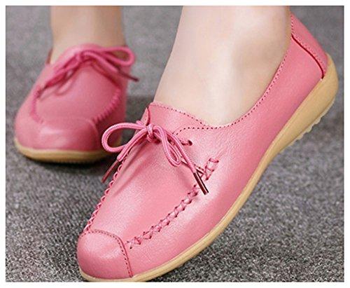 NEWZCERS Beiläufige lace up fahrende Schuhe der Frauen beschuht lederne Mokassin Schuhe Rosa