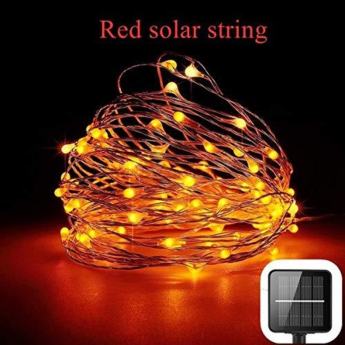 Cvxgdsfg 10M LED im Freien Solarlicht LED Schnur beleuchtet wasserdichtes Licht des Märchenfeiertagsweihnachtsfestgirlandensolargartens (Color : B) - Licht Jagen, Rot, Grün, Draht