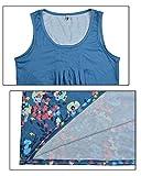 Aitos Femmes Robe été de Plage Sans Manches Cou Ronde A-ligne Imprimé Robe Casual Bleu XL - 4
