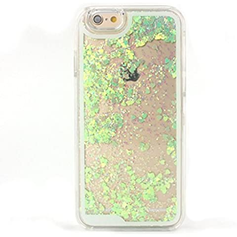 Pacyer® Custodia Rigida iPhone 6/6s Case Bumper per iPhone 6/6s Liquid Cover Glitter Case iPhone 6 Doppia di Plastica dura di Strato Lucido di Bling Glitter Stars Polvere Bumper per iPhone 6/6s (Verde)