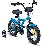 Prometheus Kinderfahrrad 12 Zoll Jungen Mädchen Blau Schwarz ab 3 Jahre mit Stützräder und Rücktritt - 12zoll BMX Modell 2019