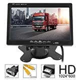 ePathChina® Car Rear View Monitor 2 Video Input DVD VCD Headrest Vehicle Monitor Support Audio Video HDMI VGA 7 Inch 16:9 HD 1024*600 TFT LCD Color