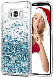 wlooo Cover Samsung S8, cover samsung galaxy s8, cover s8 glitter, cover glitter s8, Bling Liquido Custodia TPU Silicone morbido Brillantini Quicksand Case per Samsung Galaxy S8 (Blu)