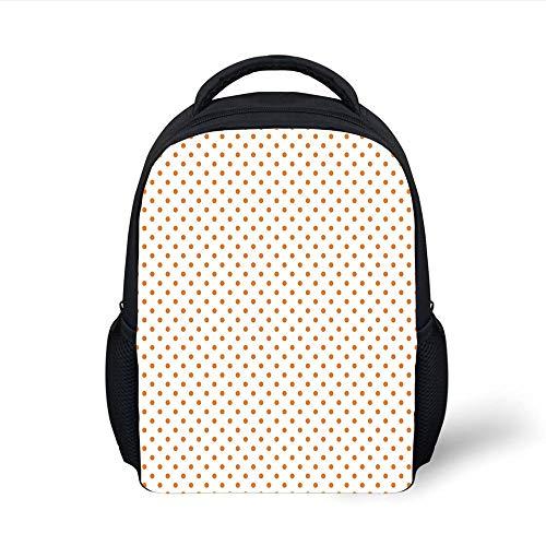 Kids School Backpack Orange,Little Orange Polka Dots on Blank Backdrop Spotted Tile Pattern Retro Style Print,Orange White Plain Bookbag Travel Daypack -