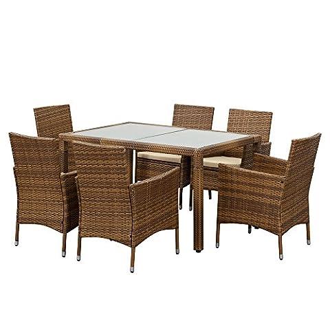 IKAYAA Salon de Jardin en Résine 7PCS Table de Salle à Manger Terrasse Set Jardin Patio Meubles