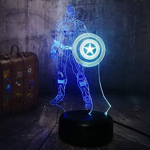 Nachtlicht Optical Illusion Lamp Erstaunliche 3D-Illusion Avengers Bürgerkrieg Führte 3D Illusion Marvel Captain America 7 Farbe Schild Lampe Geschenke Für Mann Jungen -