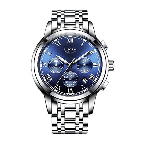 Herren Luxus Business Armbanduhr wasserdichte Uhren mit Chronograph Kalender Analog Quarzuhr mit Blauen Römischen Ziffern Zifferblatt, Silber Edelstahl Armband und Sicherheitsverschluss (Herren Uhr Silber Zifferblatt)