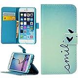 Handy Lux® Schutz Hülle Tasche Kartenfächer Flip Case Etui Cover Involto Motiv Design Hülle BookStyle (Samsung Galaxy S4 i9500, Smile)